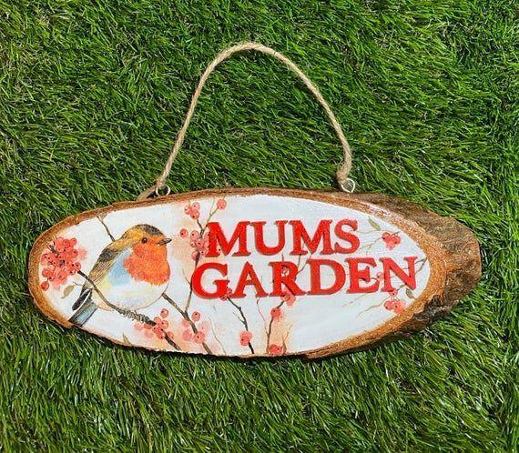 Robin Wooden Garden Sign Personalised Wood Plaque Garden Decor