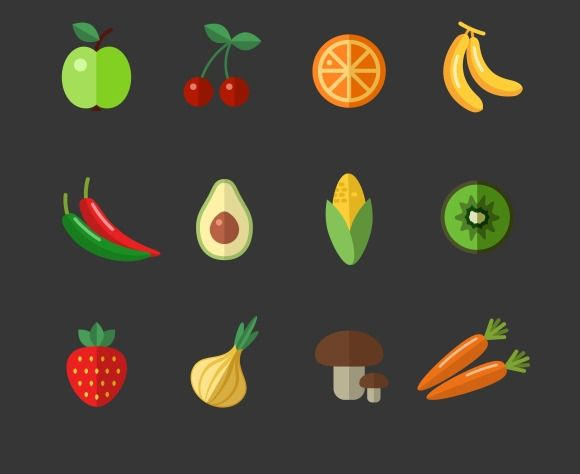 Fruits and vegetables flat icons by Microvector on Creative Market