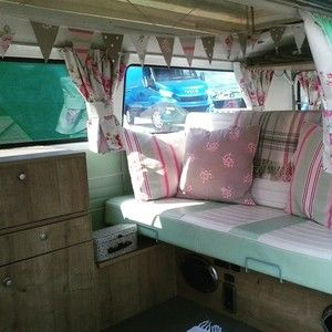 VW camper interior - floral bunting - shabby chic wedding.