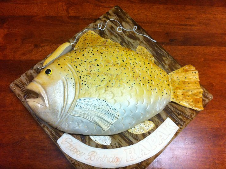 3D Fish fondant cake - Chocolate cake with fondant covered Fish-shaped cake.