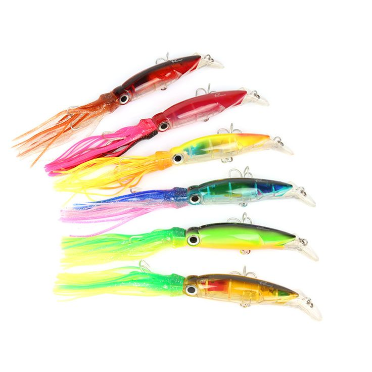 6Pcs/lot  Queshark Big Size Hard Fishing Lure Fish Bait 13.5cm/40g Fishing Tackle 6 Color Available Squid Lure Fishing Bait