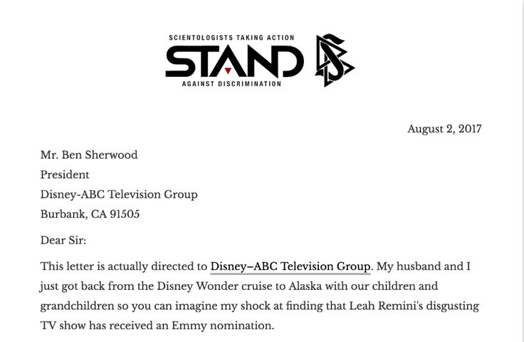 Why Would @Disney Support Leah Remini's Hate Campaign?    Read the full response on the @STANDleague site http://qoo.ly/guq7s    My husband and I have been Scientologists for over 40 years. During this time we have raised three wonderful boys using Mr. Hubbard's technology and we find it offensive that our children and grandchildren and children of other Scientologists should be targeted by your program.