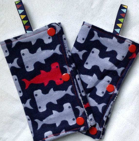 Shark Bait! Hoo, ha, ha!  Hammerhead Shark Teething Pads for Baby Carriers and by bjeanbaby