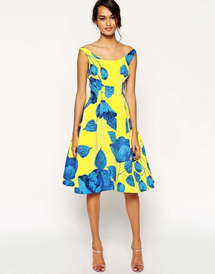 Yellow and Blue Summer Wedding Guest Outfit - Asos Bardot Dress