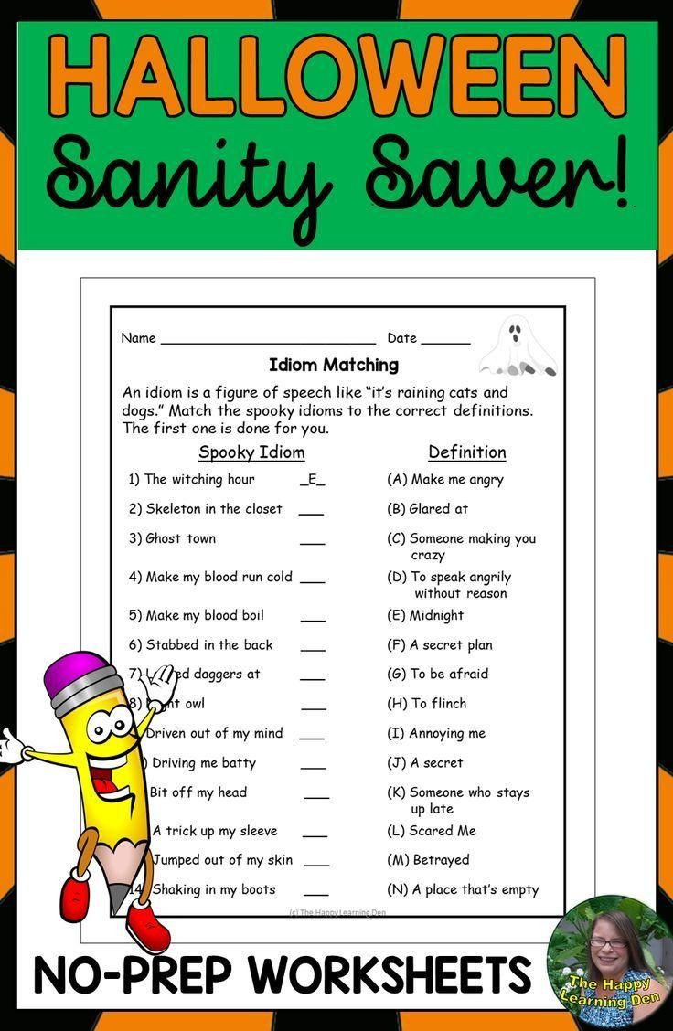 Halloween Idioms Worksheet Halloween Reading And Writing Ela Packet Halloween Reading Reading Worksheets Idioms [ 1128 x 736 Pixel ]