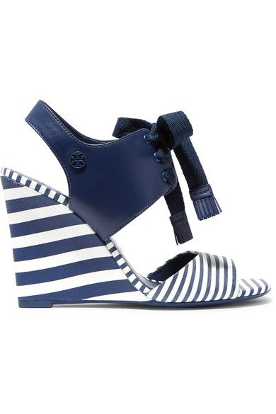 Wedge heel measures approximately 100mm/ 4 inches Navy and white leather Lace-up front Come with dust bagLarge to size. See Size & Fit notes.