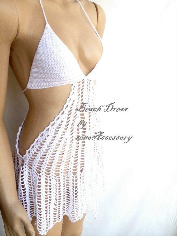 white Lace Beach Dress Knit Crochet Cover Up Summer Dress Women Swimsuit senoAccessory on Etsy, 59,90$