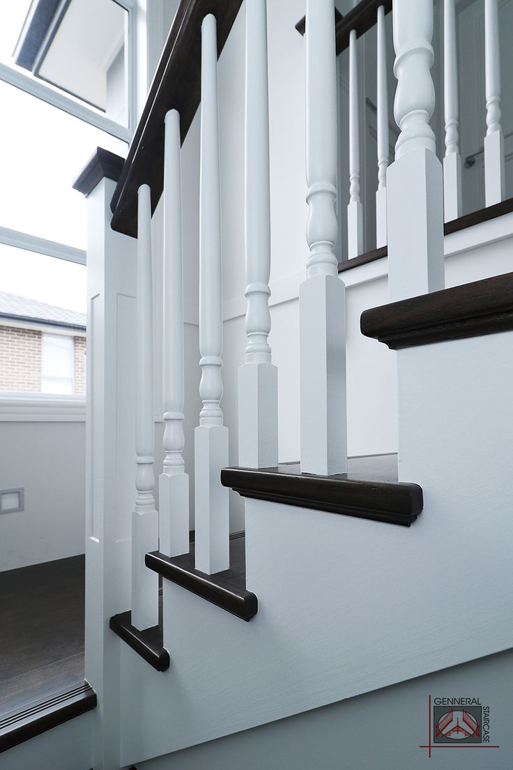 Hampton style stair | Made by Genneral Staircase  Treads and Handrail of Victorian Ash