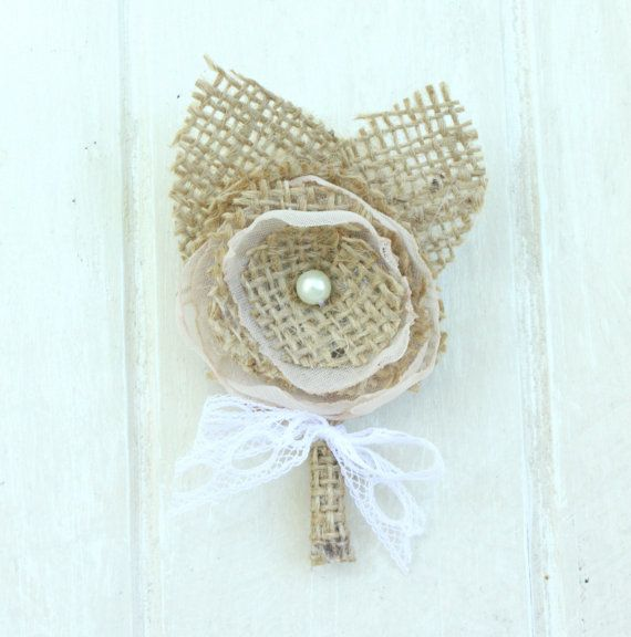 Burlap Boutonniere boutineer with French Lace by ProjectU on Etsy, $12.00
