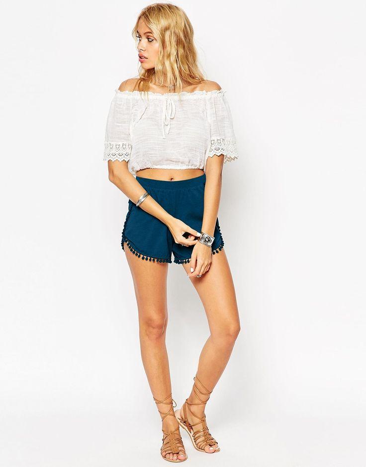 ASOS+Jersey+Shorts+with+Pom+Pom+Hem