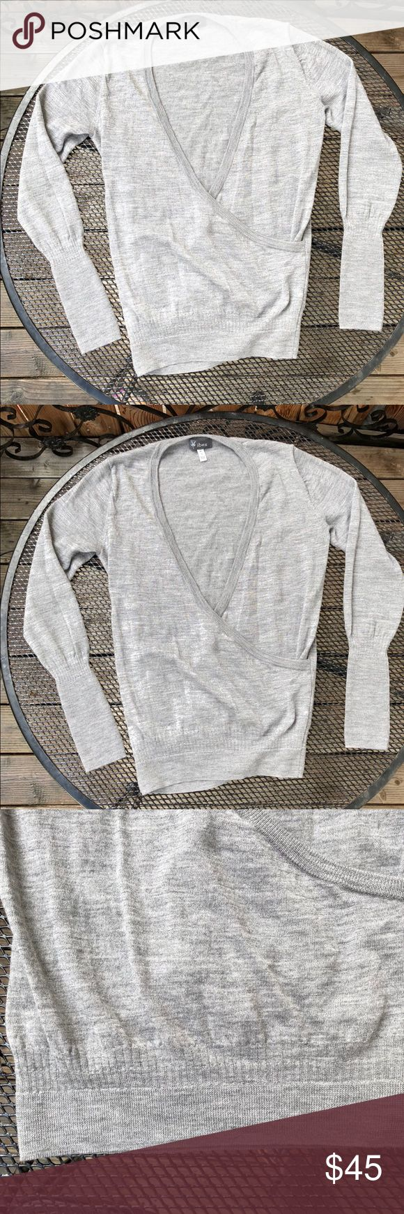 IBEX Arabesque Wool Cardigan Sweater S Super soft gorgeous wool! Not worn. With tag. Looser fitting, another top needs to be under it. Light heathered silvery grey. IBEX Sweaters Cardigans
