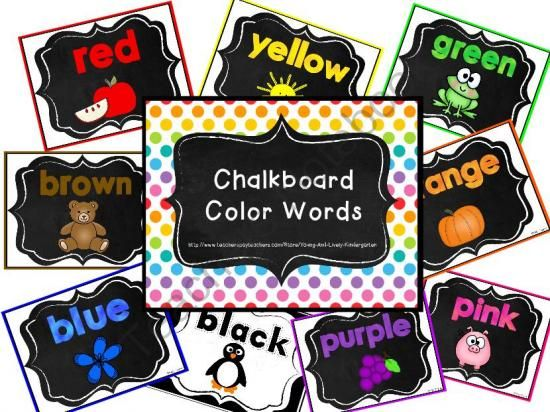 "FREE Chalkboard Color Word Posters with a Chalkboard theme  ......Follow for Free ""too-neat-not-to-keep"" teaching tools & other fun stuff :)"