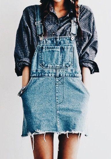 Button up boyfriend shirt under over all blue jean hopper dress for spring and summer