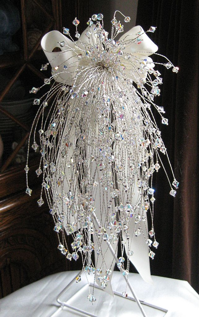 Swarovski Crystal cascading bridal bouquet. 250 stems. Handmade at Jolly Fine Jewellery.