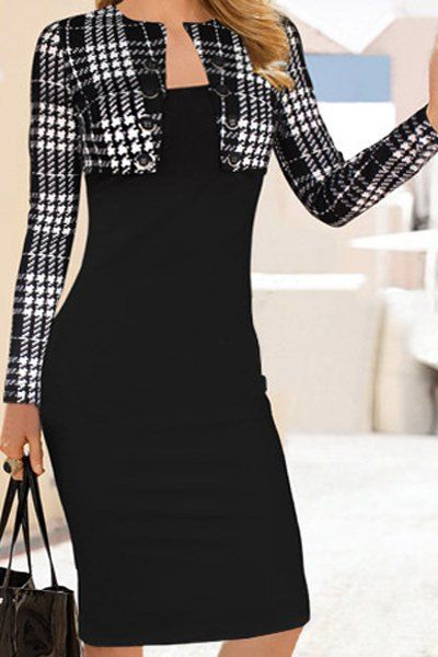 Elegant Round Collar Plaid Splicing Long Sleeve Dress For Women