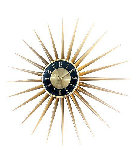 Control Brand Gold & Black Sunburst Clock | zulily