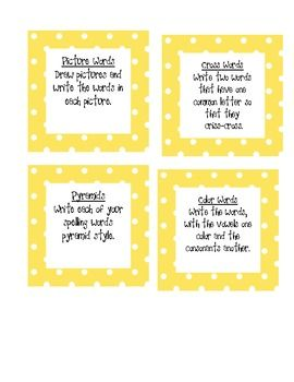 free Spelling Task Cards