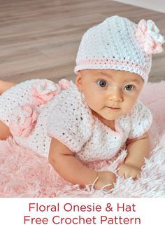 Floral Onesie & Hat Free Crochet Pattern in Red Heart Yarns -- Perfect for the next baby shower, this onesie set is crocheted with easy-care quality yarn. Trimmed with fashionable flowers, it is special enough for her first photo shoot. Choose this yarn with the blue heart on the ball band and know that it has been tested for harmful substances.