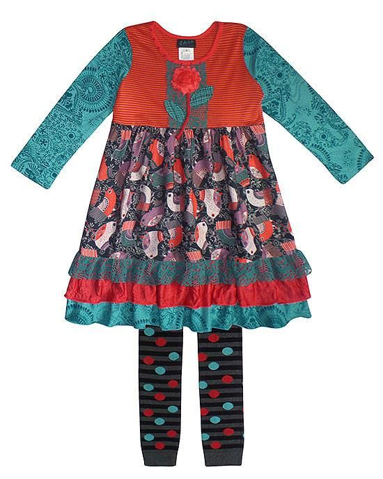 GORGEOUS Zaza Couture Birdie Empire Dress and Footless Tights Set Girls (sz 5-10) ~Color Me Happy Boutique #Fall