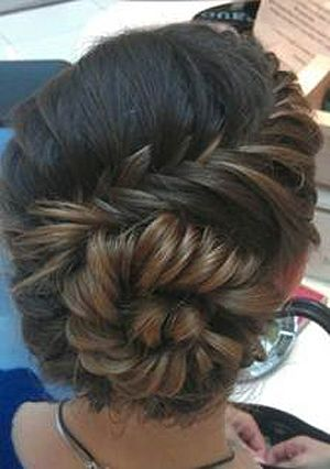Beautiful french braided bun.