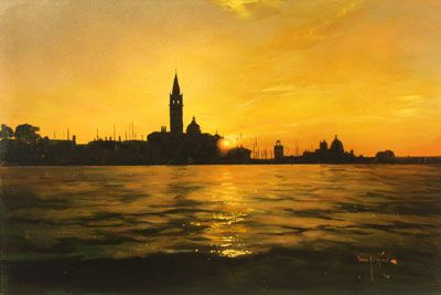 John Haskins, original painting, Venetian Sunset