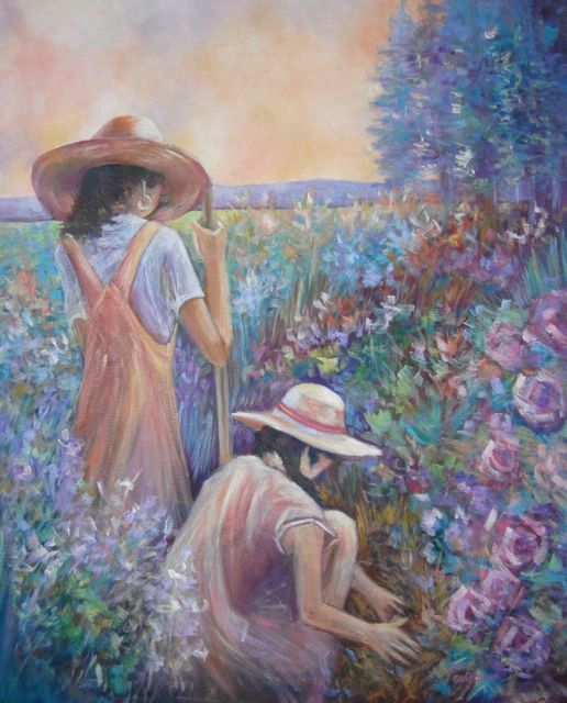"""The Gardeners"" original oil painting by artist Vanessa Penman - www.penman.co.nz"