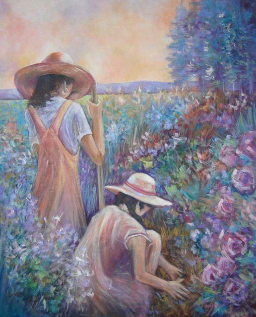 """The Gardeners"" original oil painting by artist Vanessa Penman - www.penman.co.nz"