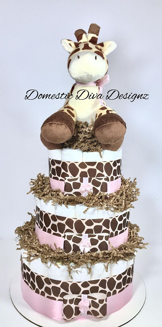 Diaper Cake Giraffe Light Pink Brown Baby Girl Shower Diaper