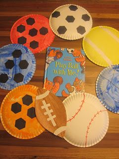Sports-themed display - collaborative art project with paper plates, paint, paper (Adventures in Reading With Kids)