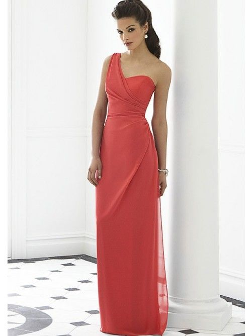 Nice Column One-shoulder Sleeveless Chiffon Floor-length Bridesmaid Gowns