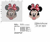 Minnie Mickey Mouse cartoon character free small cross stitch pattern