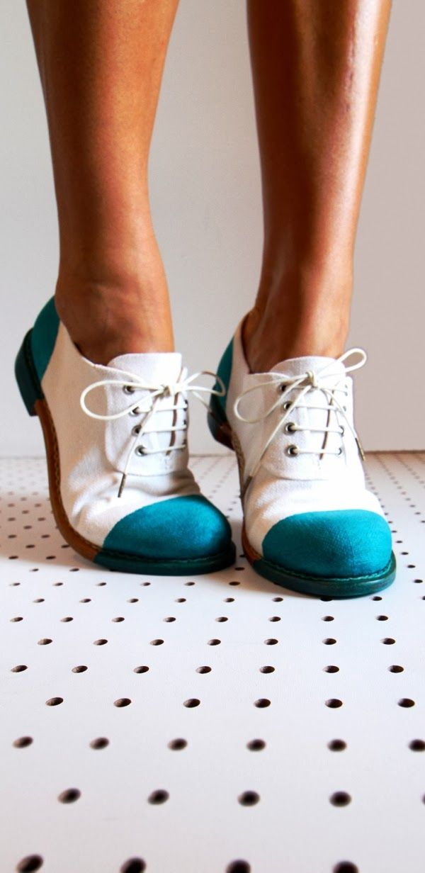 Adorable white and green office shoes