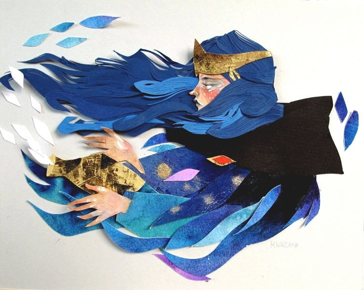 Illustration Magic medieval paper collage Morgana Wallace