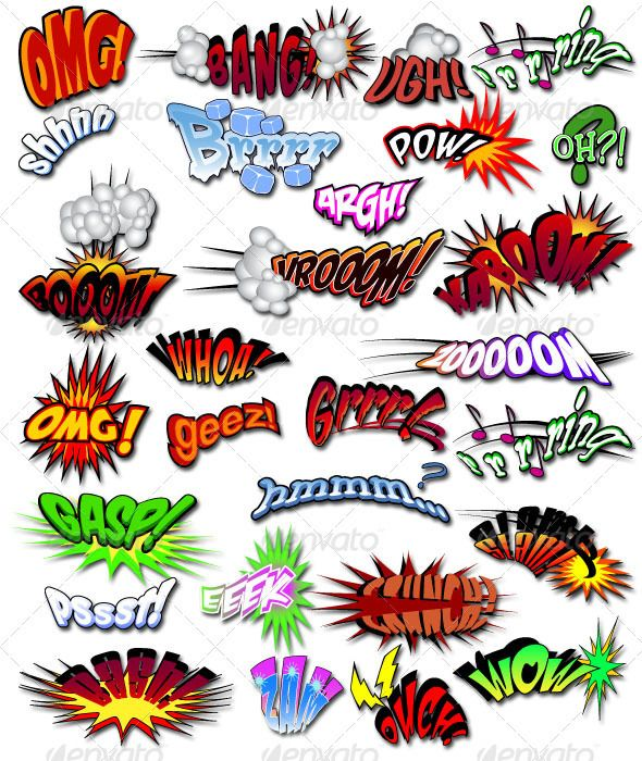 Comic Book Actions Elements - Set 1 #GraphicRiver These 28 color vector images designed in Illustrator CS5 are fully customizable to fit many of your comic action needs. This set includes both CMYK and RGB versions along with AI and EPS compatible formats with an additional EPS file compatible with Illustrator CS4 . Created: 27August12 GraphicsFilesIncluded: JPGImage #VectorEPS #AIIllustrator Layered: Yes MinimumAdobeCSVersion: CS4 Tags: actions #argh #bang #bash #boom #cmyk #colorvector…