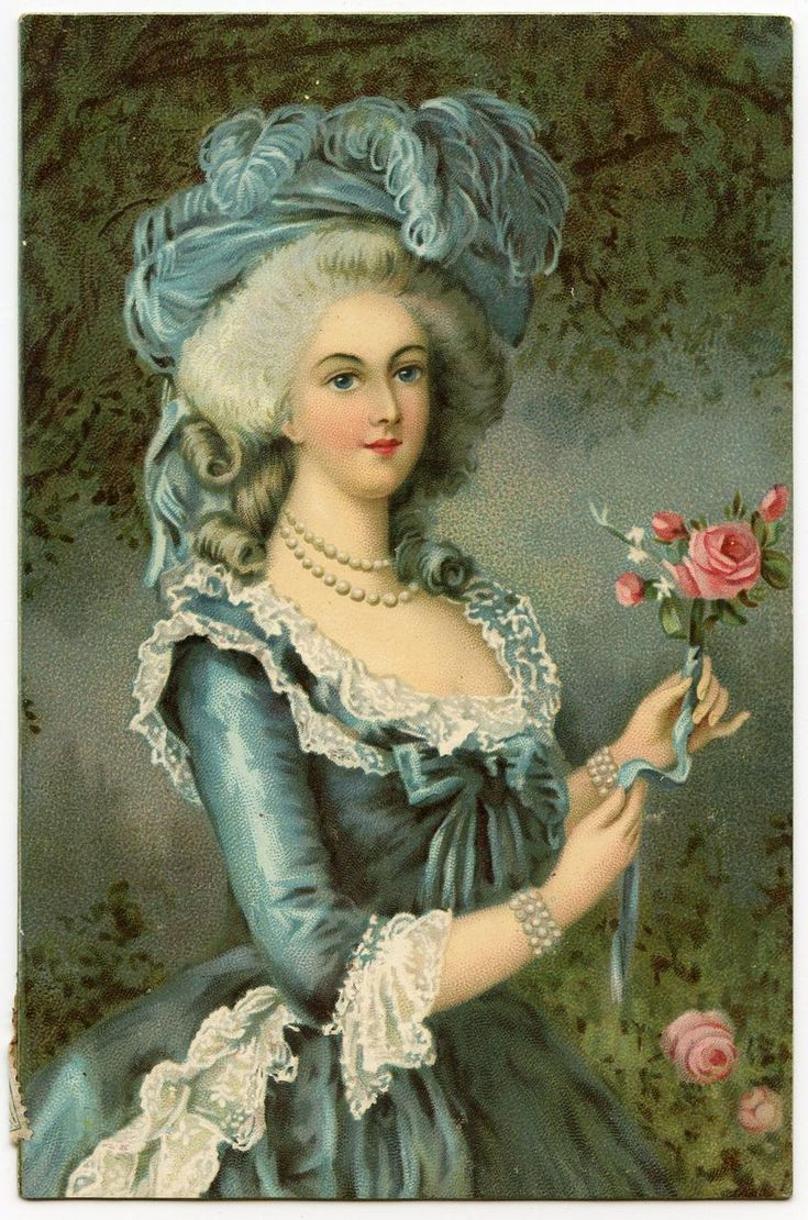 Artist Series Vigee Lebrun MARIE ANTOINETTE with the Rose Chromolithograph Antique Postcard