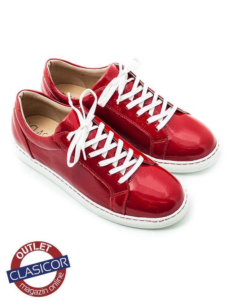 Pantofi sport din piele lac, dama – 499 rosu | Pantofi piele online / outlet incaltaminte piele | Clasicor