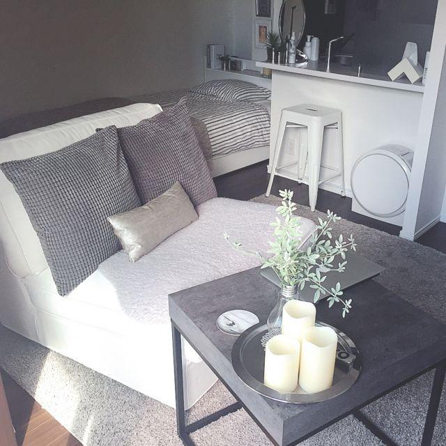 itsucaさんの、部屋全体,IKEA,ホワイトインテリア,1人掛けソファ,モノトーンインテリア,グレーインテリア,kivik,のお部屋写真
