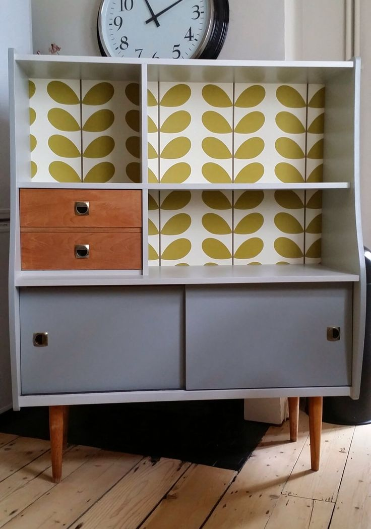 Upcycled Retro Cabinet Orla Kiely Wallpaper Vintage Bespoke by Melupcycle on Etsy https://www.etsy.com/listing/227413071/upcycled-retro-cabinet-orla-kiely