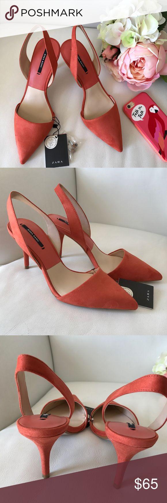 "Zara Sling back peach heels 3.5"" heel height  , SIZES 37 , 38 , 39     Offers via offer feature only ! 👍🏻  💗💗IG: iluvshoes22 💗💗  🎈🎈🎈15% off bundles 🎈🎈🎈 Zara Shoes Heels"