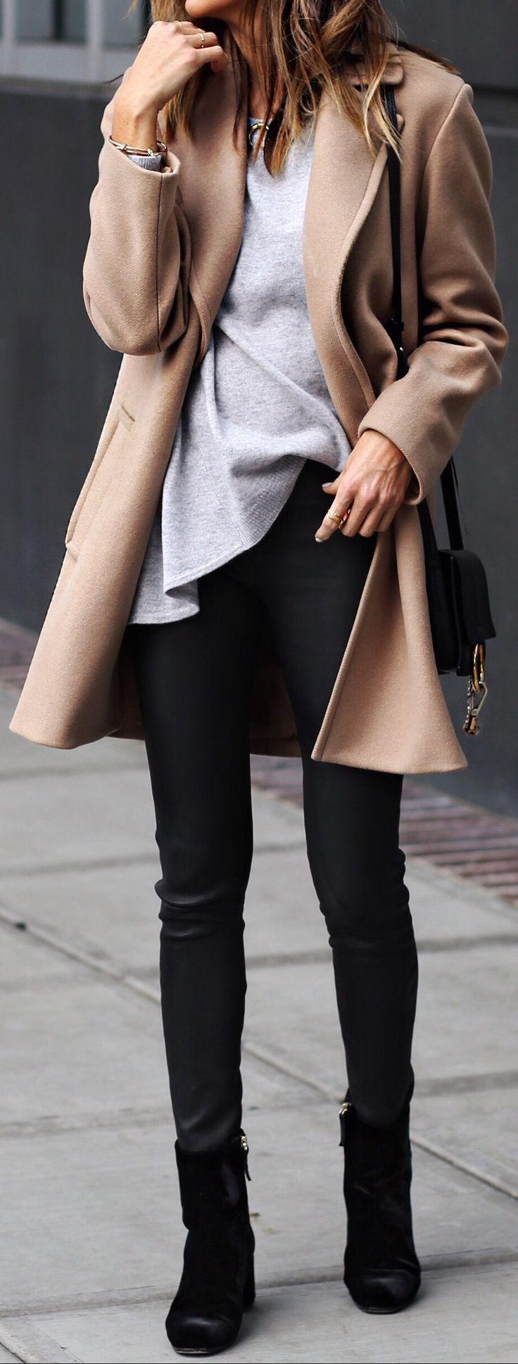 Camel Coat / Grey Knit / Black Skinny Jeans / Black Booties