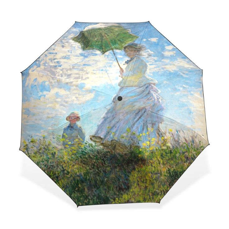 High Quality Claude Monet Famous Oil Painting Umbrella Woman 3 Folding Parasol Fashion Lady Portable Girl Friend Gift For Wife