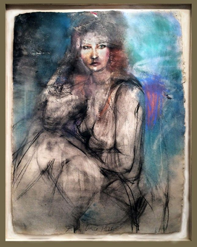 """Jim Dine- A Lady Sitting Drawing- """"In a drawing, I dig into the paper with marks for the ultimate emotional impact."""" -Jim Dine, A Lady Sitting, 1975."""