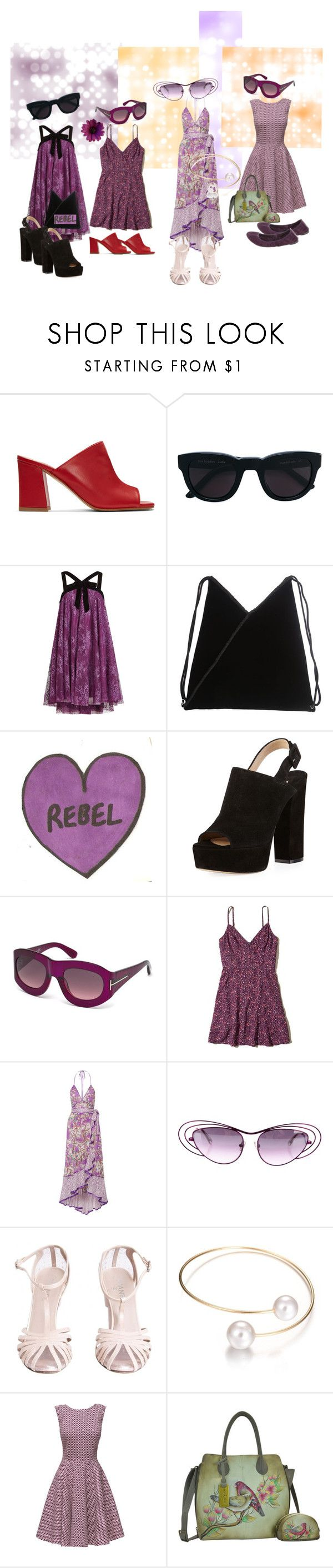"""Purple Reign"" by feralkind ❤ liked on Polyvore featuring Maryam Nassir Zadeh, Sun Buddies, Philosophy di Lorenzo Serafini, MM6 Maison Margiela, Paul Andrew, Tom Ford, Hollister Co., Marc Jacobs, Linda Farrow and Chanel"