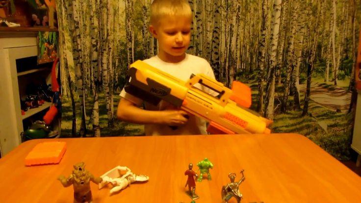 Бластер NERF + дополнительные рожки. Обзор. Игрушки для мальчиков.