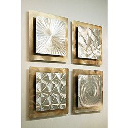 Metal Wall Art is super cool, trendy and stylish especially for rooms such as offices and kitchens.  In fact, there is a wide variety of metal wall art from crazy abstract metal wall art to beautiful floral metal wall art.  #metalwallart #homewallartdecor #homedecor   Gold & Silver Contemporary Metal Wall Art -4 Panel Modern Home Décor - Phenomena