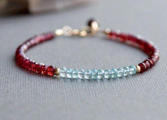 Garnet and Aquamarine Gemstone Bracelet January and by AlaskaDaisy