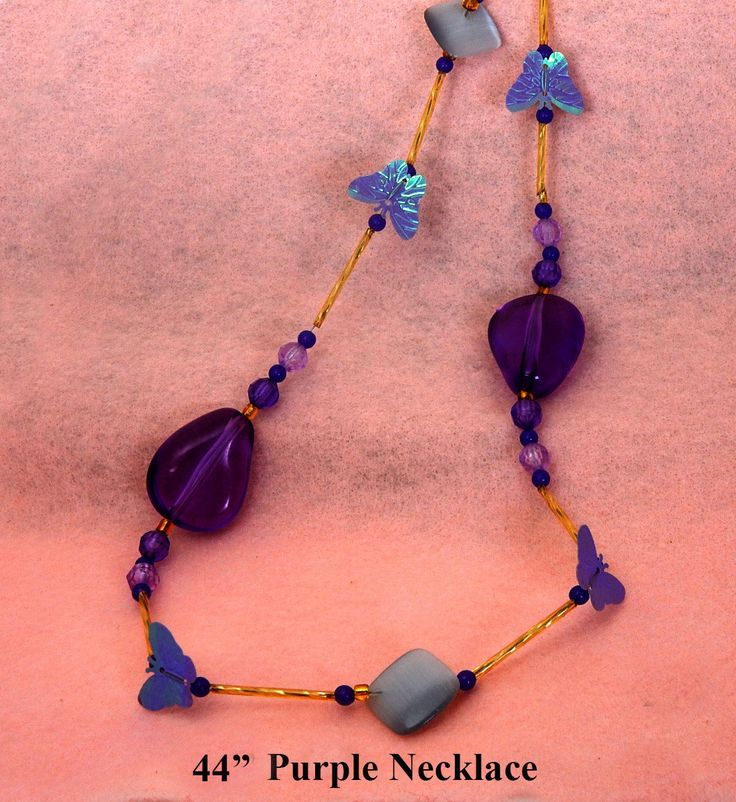 Purple Butterfly Long Necklace.  Purple butterflies, large and small purple and grey acrylic beads.  44 inches in length.  Gift for women. by BettyCampbell on Etsy