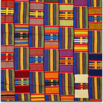 "Traditional handmade kente cloth from Ghana beautiful in and of itself, very ""quilt-like"""