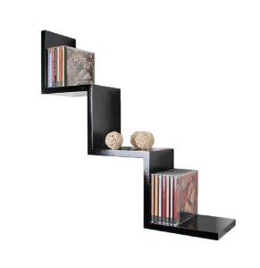 Zigzag retro design lounge shelf as stairs in black: Amazon.co.uk: Kitchen & Home