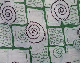 Vintage Feedsack Fabric Mid Century Geometric Optic Squares Brown and Green 44 x 36 #mm34